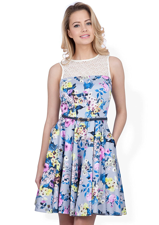 Closet Lace Top Print Dress