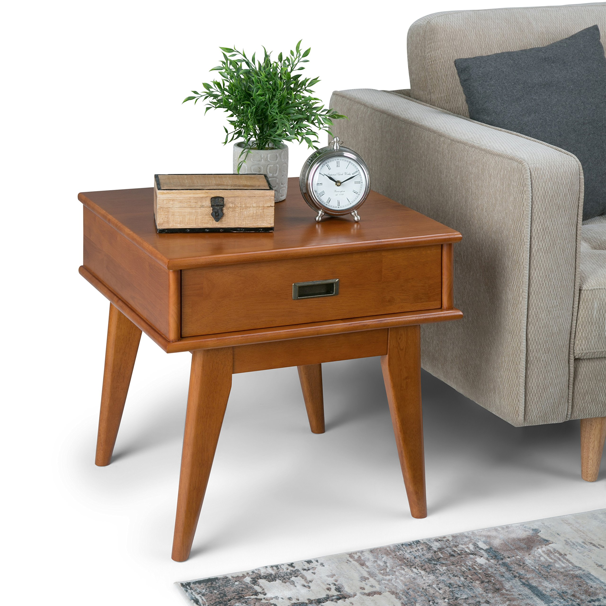 Rectangle Mid Century Modern End Side Table in Teak Brown with Storage