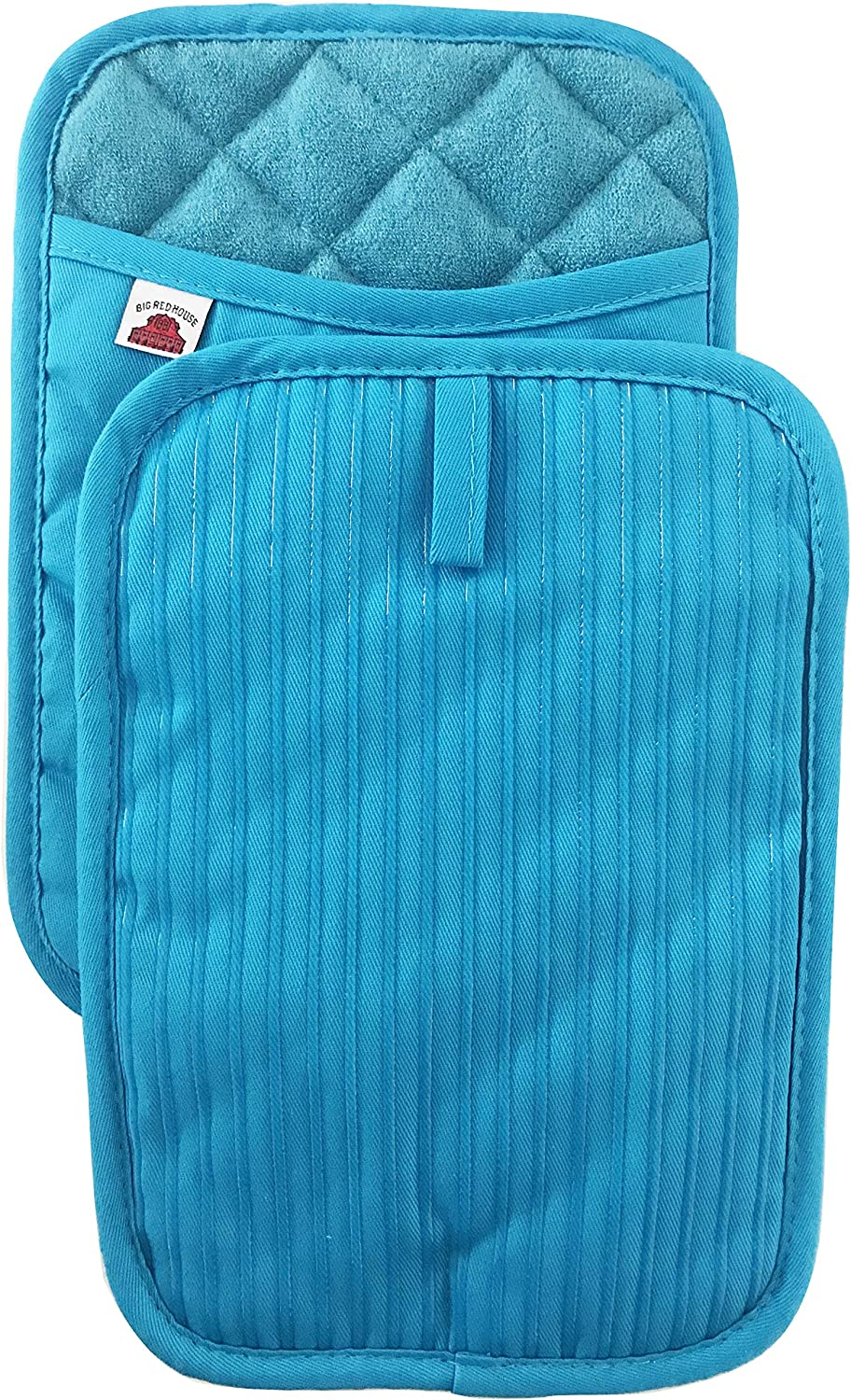 Kitchen Quilted Insulated Hot Pad Pot Holder Oven Mitt Bright Colors Blue Trim Pocket 8 X 8 Chili Pepers