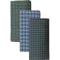 BlueDenim PureCotton Lungis for Men, 2.25 meter Set of 3 (Multi Colour)||Assorted Checks or Colors