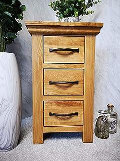 furniture octopus toronto oak narrow 3 drawer bedside table cabinet
