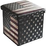 Bailey Faux Leather Folding Storage Ottoman with U.S.Flag Footrest Coffee Table 15'x15'x15