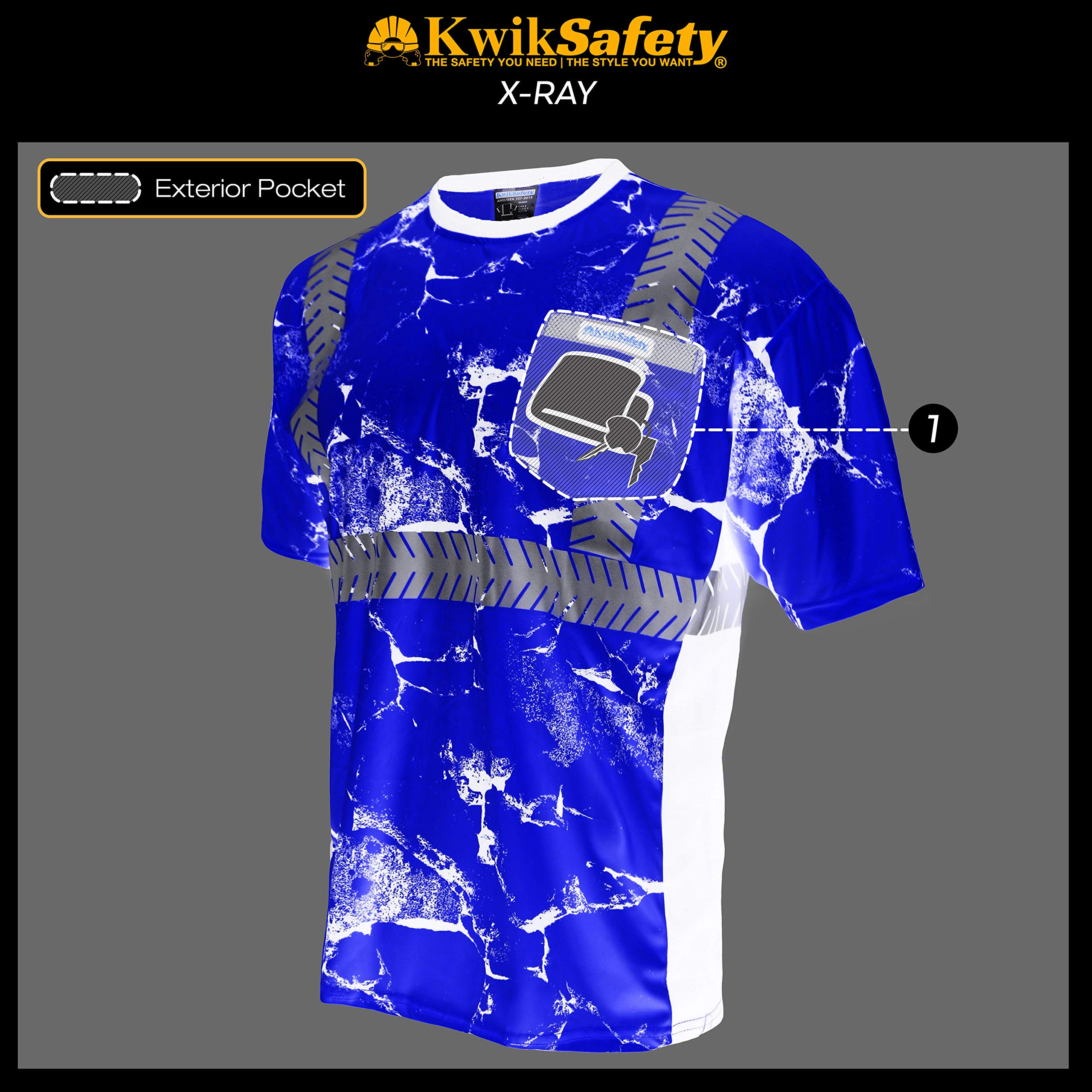 KwikSafety (Charlotte, NC) UNCLE WILLY'S WALL (Chest Pocket) Class 2 ANSI High Visibility Safety Shirt Fishbone Reflective Tape Construction Hi Vis Clothing Men Short Sleeve Camo Yellow Black XX-Large by KwikSafety (Image #7)