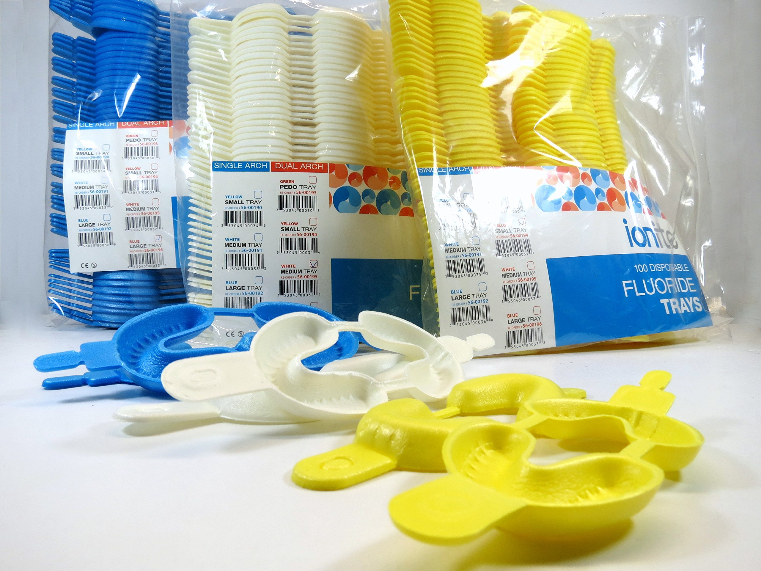 300x Assorted Fluoride Arch Foam Trays Dental Dual SMALL / MEDIUM / LARGE Pack Disposable Cubetas