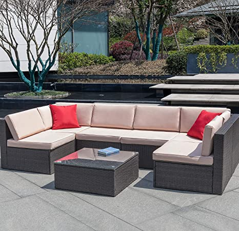 Devoko 7 Pieces Outdoor Sectional Sofa All-Weather Patio Furniture Sets  Manual Weaving Wicker Rattan Patio Conversation Sets with Cushion and Glass  ...