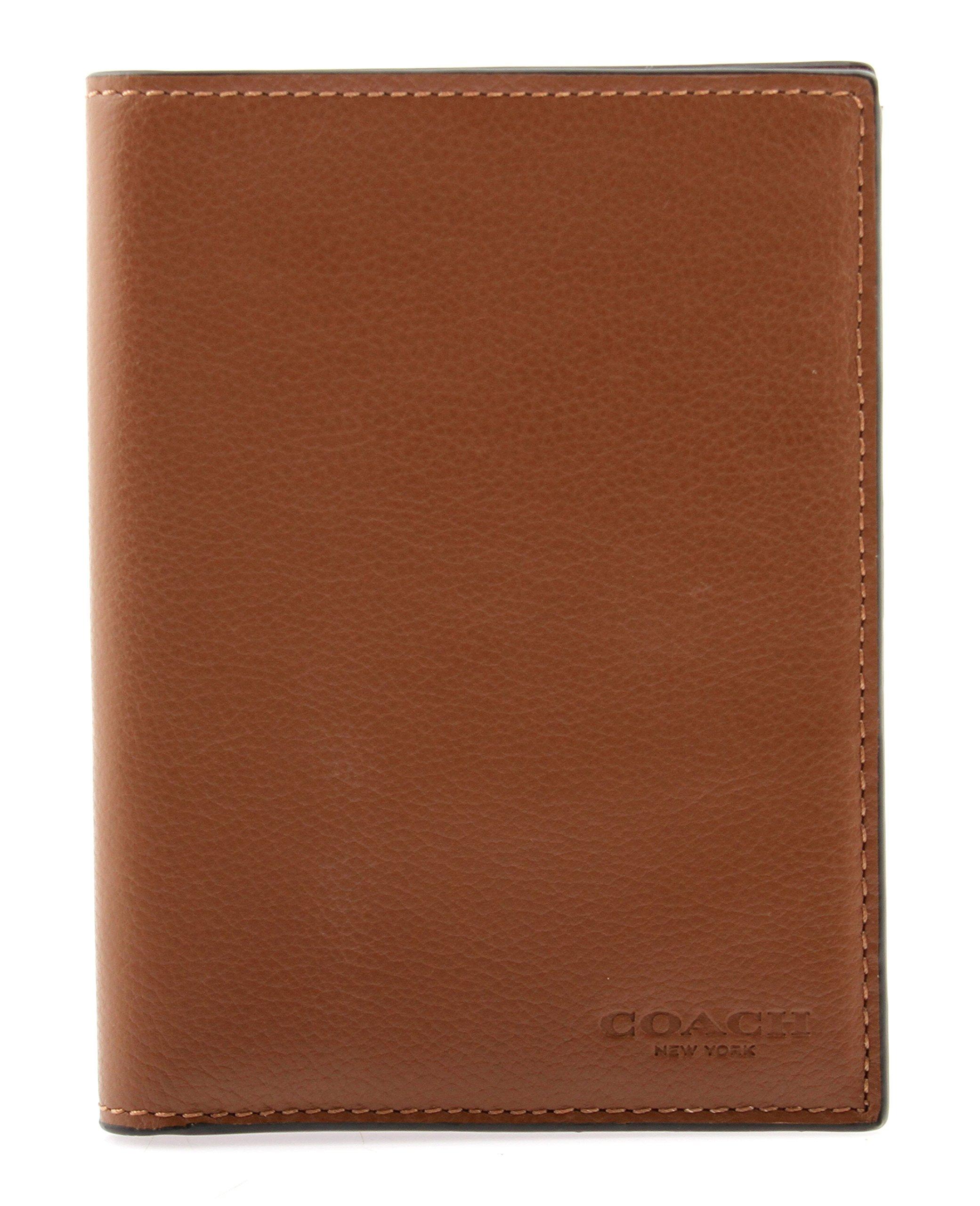 Coach Calf Leather Passport Case in Dark Saddle, F93604 CWH