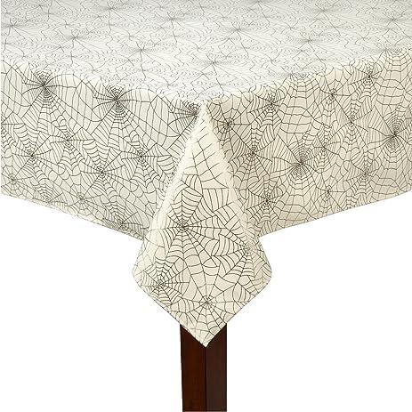 Nantucket Home Halloween White Foil Print Spider Web Tablecloth (58u0026quot;  ...