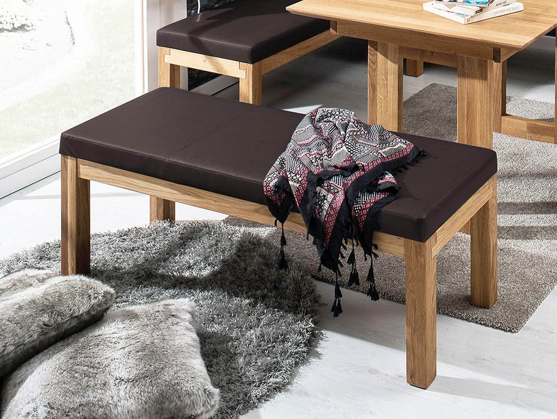 SALIMA Sitzbank ohne Rücken Massivholz mit Stoffbezug, 130 cm, Eiche geölt, dunkelbraun