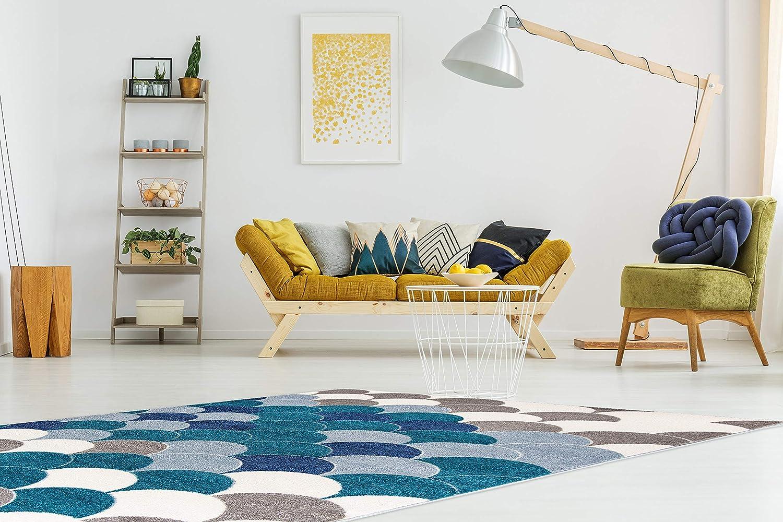 Carpetforyou Schöner Moderner Kurzflor Teppich Blau Pearls ...
