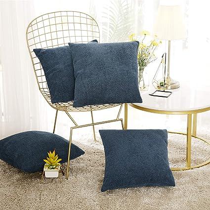 Deconovo Lot de 4 Taies d\'oreiller de Lit Salon de Jardin Exterieur Housse  de Coussin Effet Lin Chaise Bureau Voiture Bleu Foncé 45x45cm