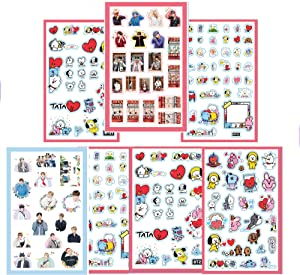 BTS Stickers and Facial Decals Paper Doll Sticker Pack Set for Phone Car Pad Laptop Water Bottles,Bangtan Boys Gift Set for Army (BTS, 7 pcs)