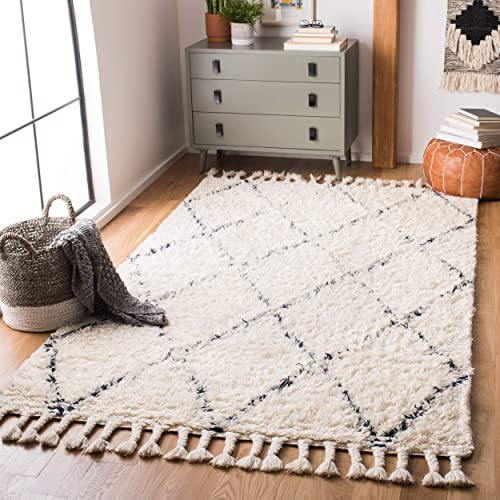 Safavieh Casablanca Shag Collection CSB951N Handmade Wool Moroccan Area Rug