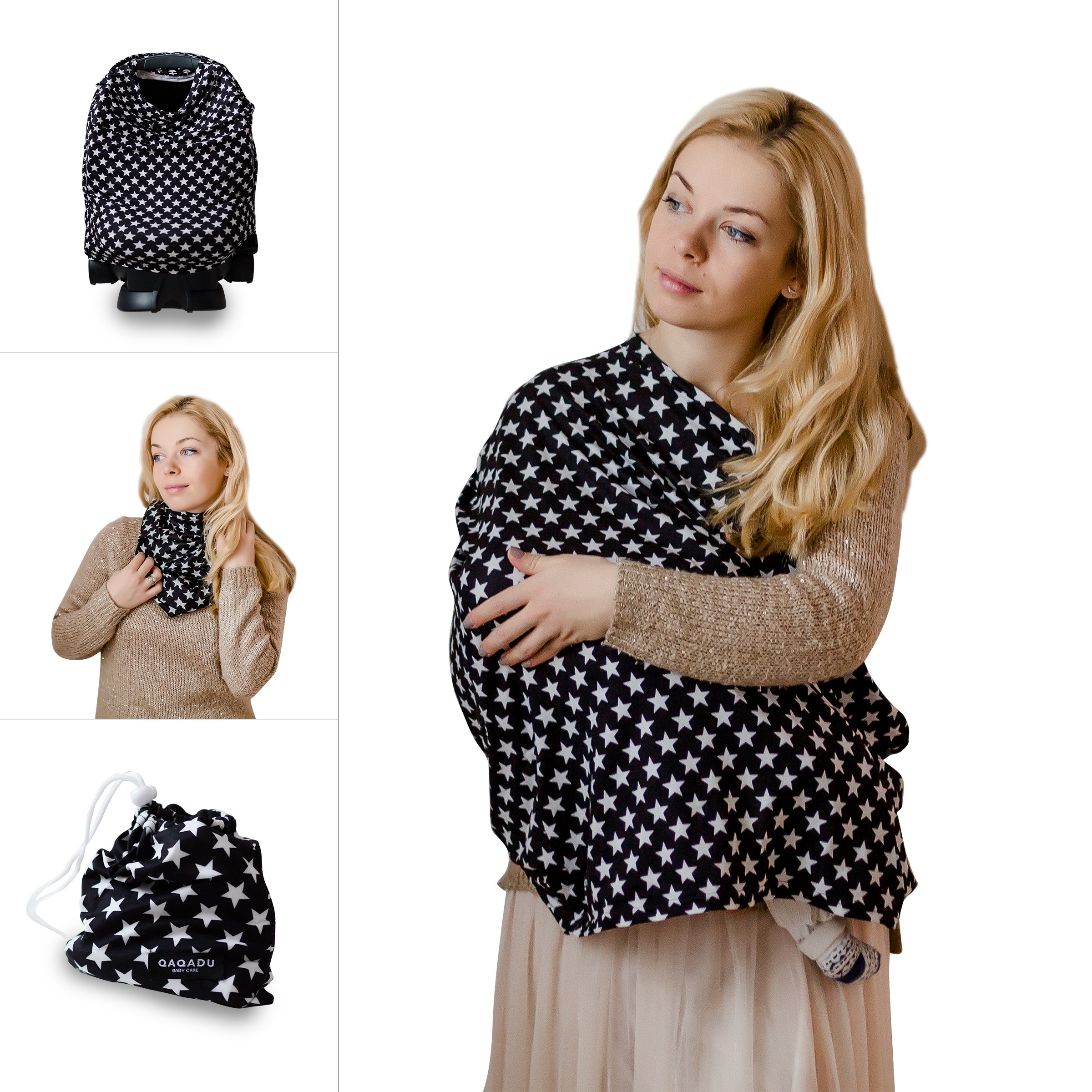 Nursing Cover - Black Stars - Breastfeeding Cover Scarf - Baby Car Seat Canopy, Shopping Cart, Stroller, Carseat Covers for Girls and Boys