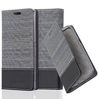 Cadorabo Hülle für Sony Xperia Z2 - Hülle in GRAU SCHWARZ – Handyhülle mit Standfunktion und Kartenfach im Stoff Design - Cas