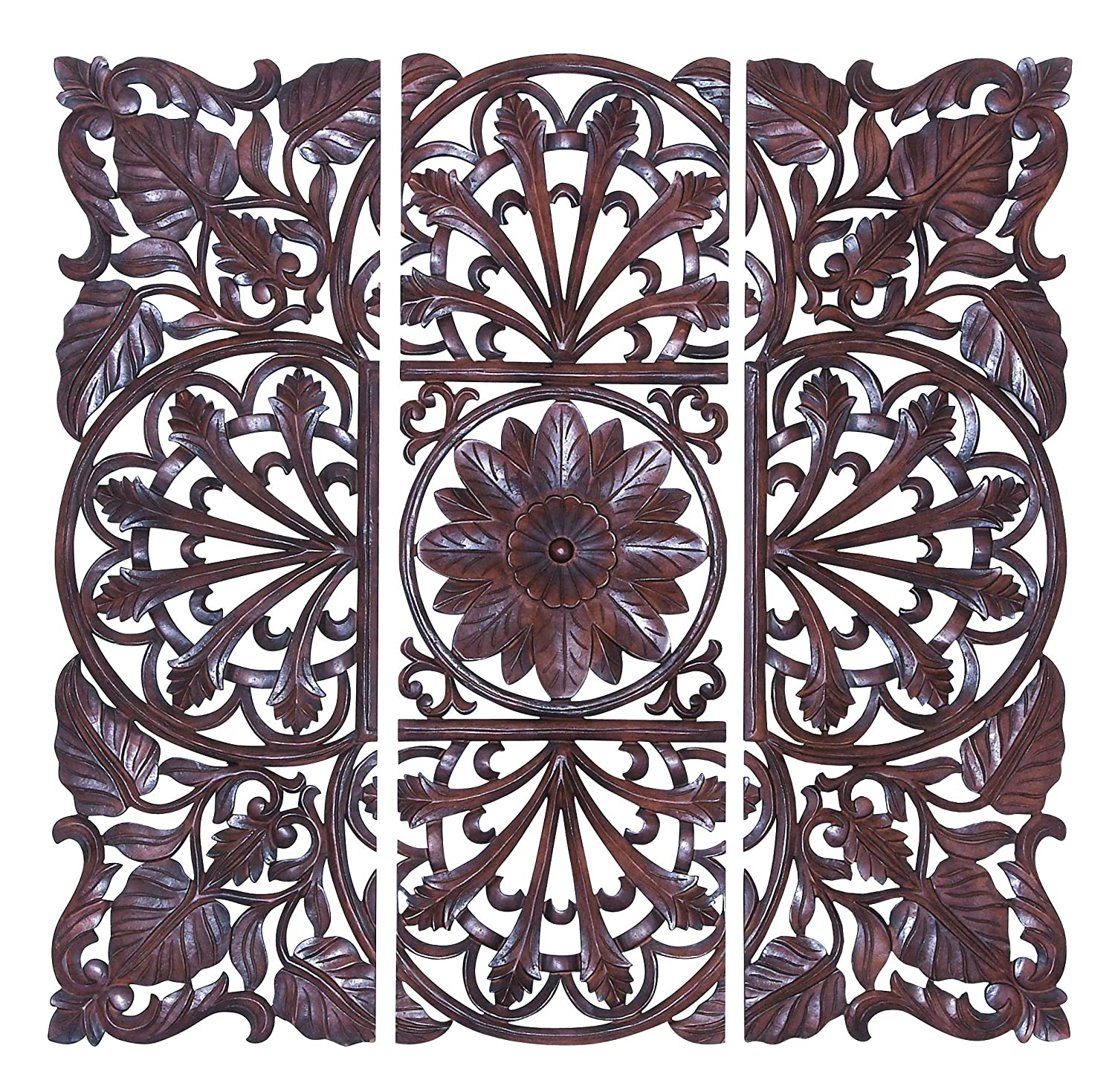Wooden Wall Art Panels Part - 32: Amazon.com: Deco 79 Wooden Wall Plaque, Brown, Set Of 3: Home U0026 Kitchen