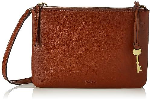 Fossil Damen Tasche Devon Crossbody Umhängetasche, Braun