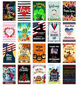 Yileqi 20pcs Seasonal Garden Flags Set Double Sided Holiday Small Yard Flags with Zipper Storage Bag, Summer 4th of July Garden Flag for Outdoor Decoration 12x18 Inch Durable Anti-Fade