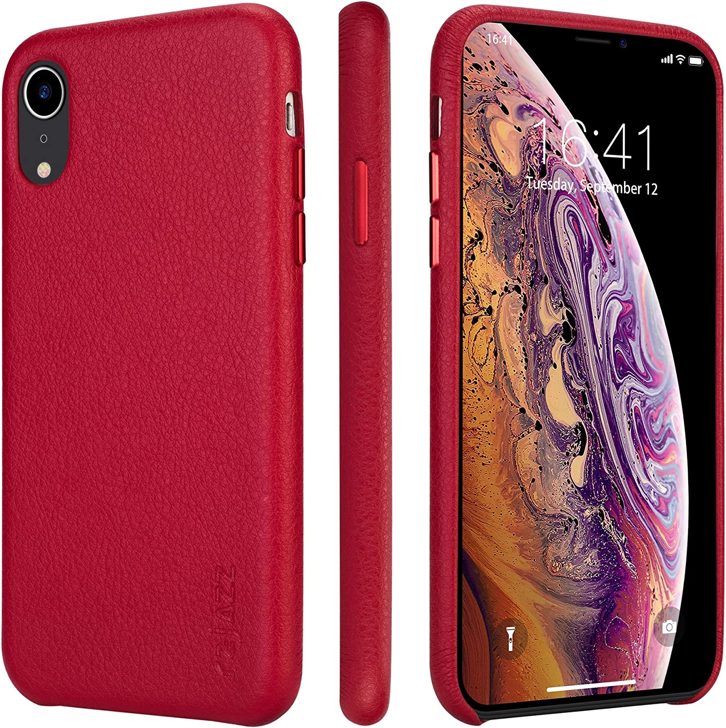 rejazz iPhone xr Case Anti-Scratch iPhone xr Cover Genuine Leather Apple iPhone Cases for iPhone xr (6.1 Inch)(Red)