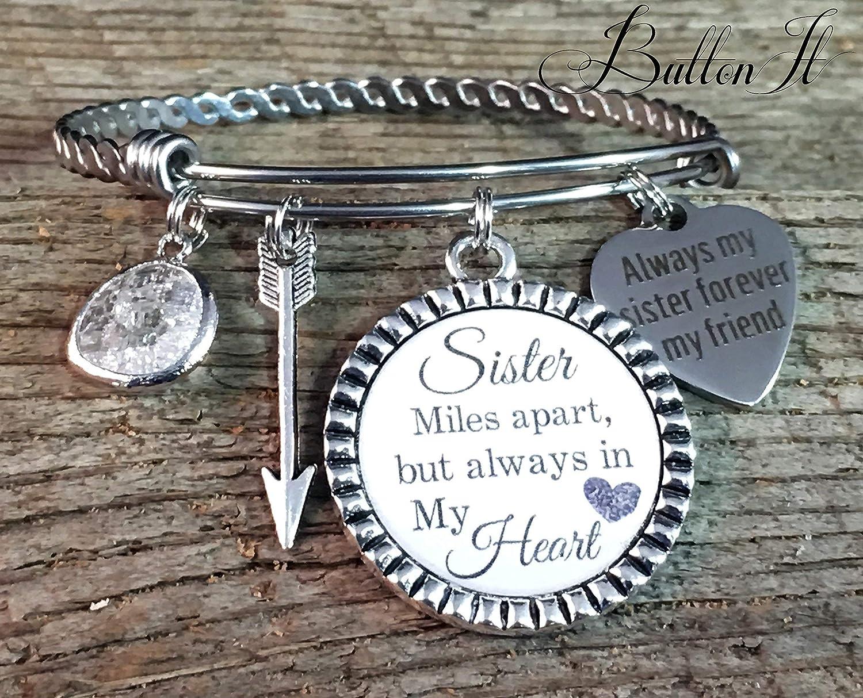 Big sister miles apart but always in my heart sister birthday gift BANGLE bracelet Valentine gift Sister gift charm bracelet SISTER jewelry Sister bracelet