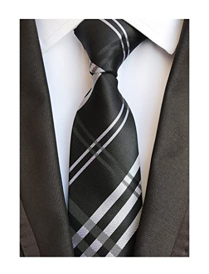 8f10269520ed Elfeves Men's Modern Tartan Checks Plaid Style Formal Ties Woven Pattern  Necktie (One Size,