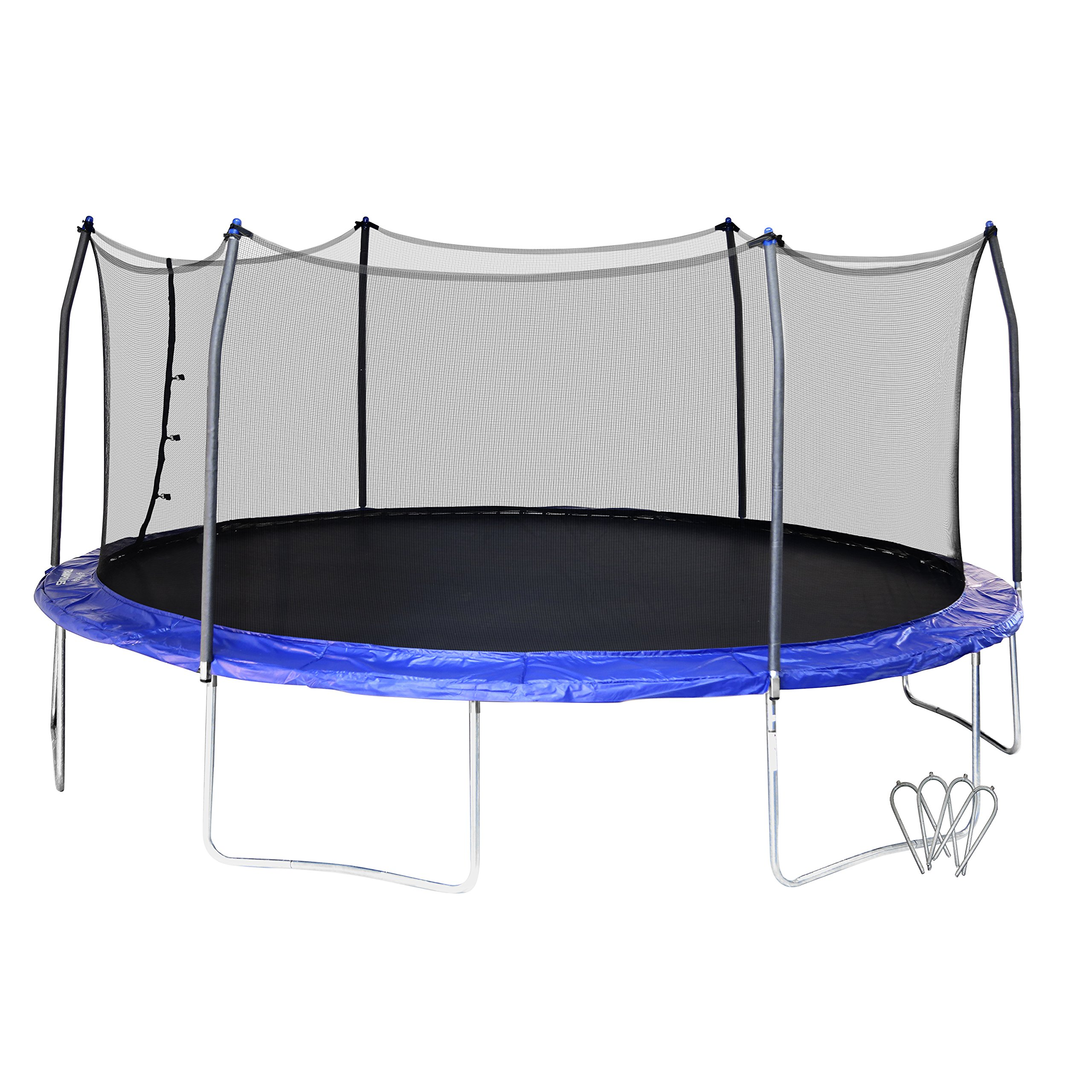Skywalker SWTC17BWS Oval Trampoline and Enclosure with Wind Stakes (17-Feet)
