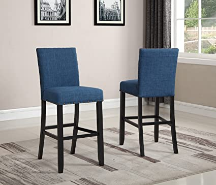 Awesome Roundhill Furniture Pc164Bu Biony Fabric Bar Stools With Nailhead Trim Set Of 2 Blue Andrewgaddart Wooden Chair Designs For Living Room Andrewgaddartcom