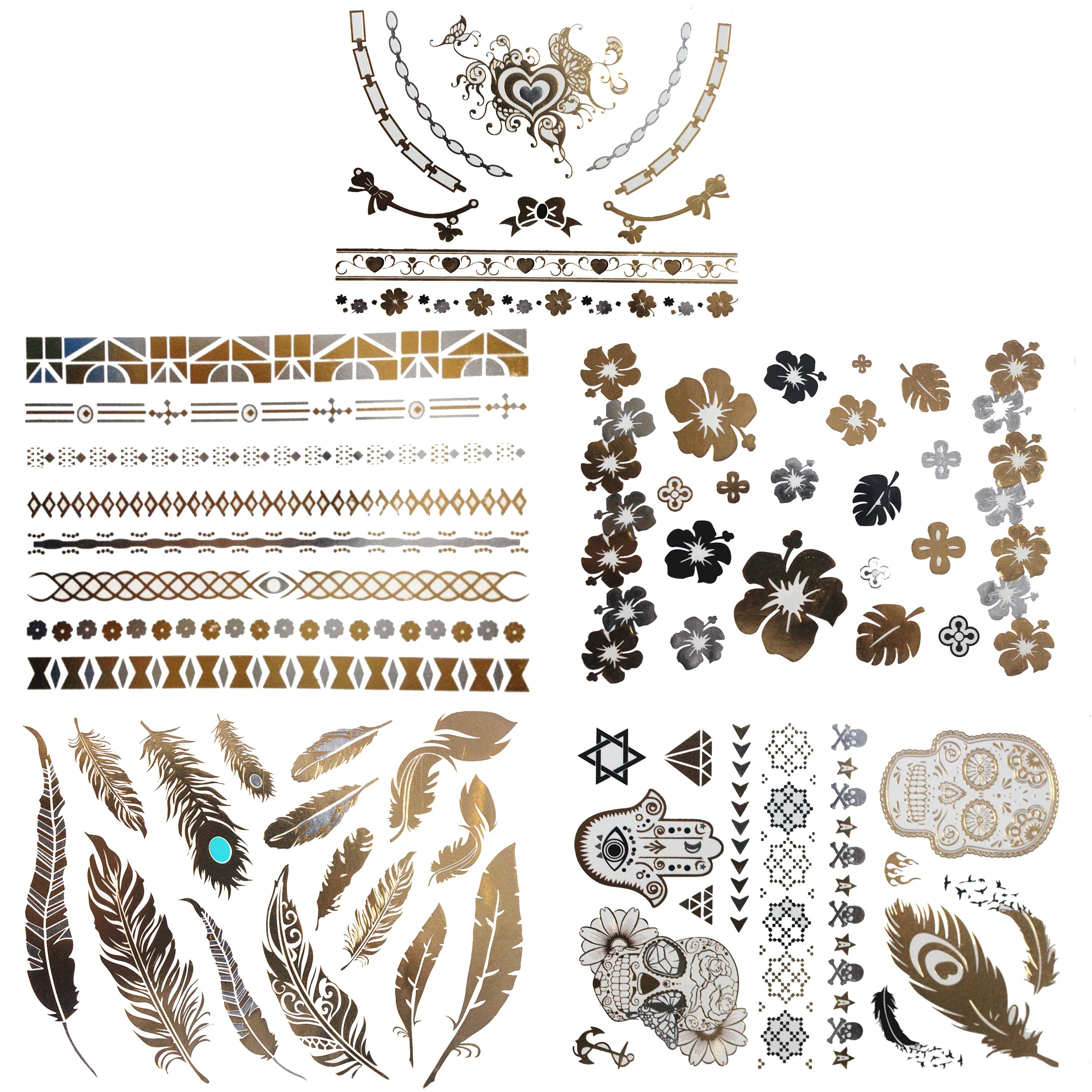 Metallic Temporary Tattoo - 65+ Premium Tattoos Classic Gold, Silver &Sky Blue Design - 5 Sheets - Perfect for Arm, Wrist, Neck & Face - BEST DEAL ON AMAZON