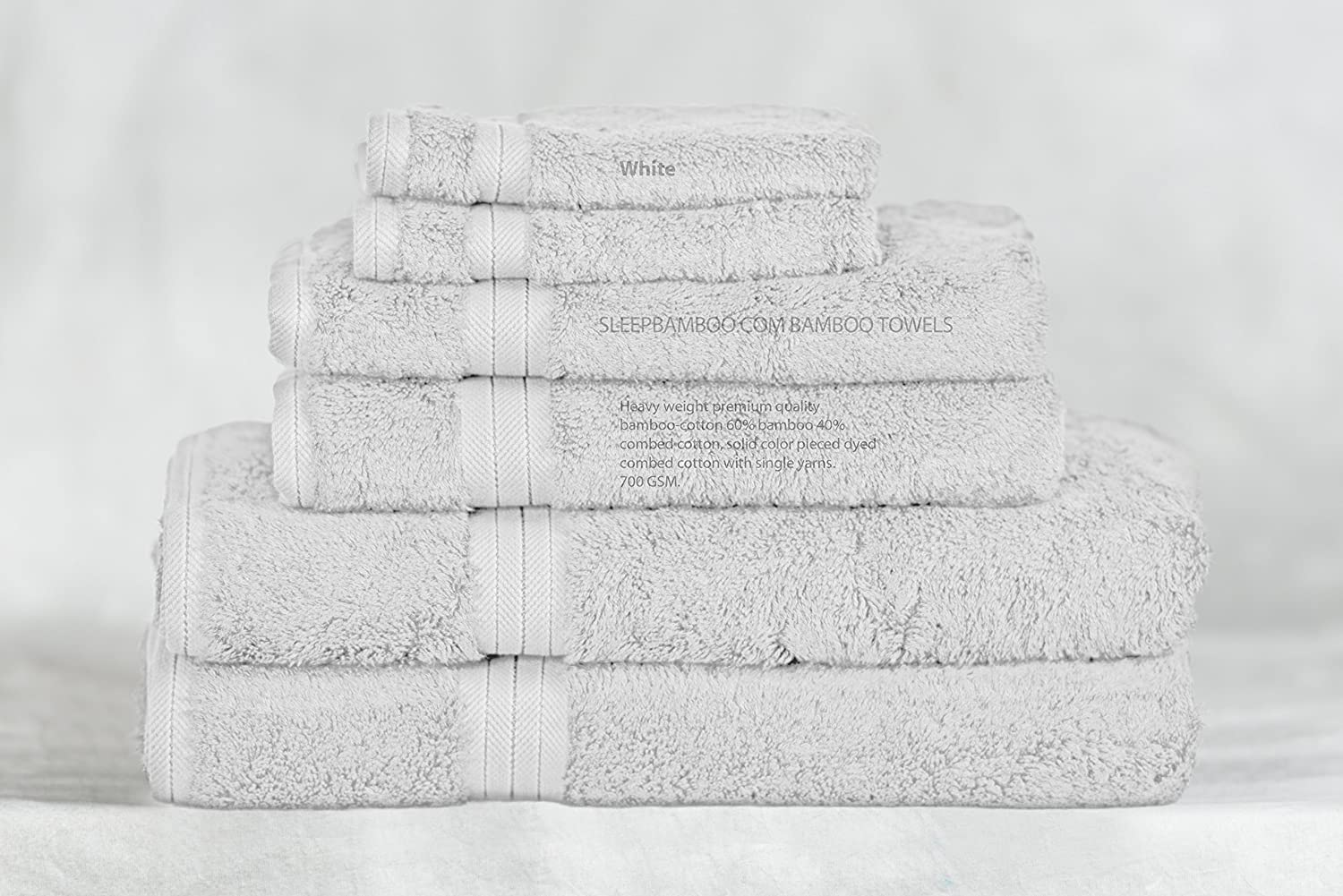 Bamboo Towel Set - White - 6 Piece Set - Available in 20 Colors SleepBamboo Towels BBTS-6