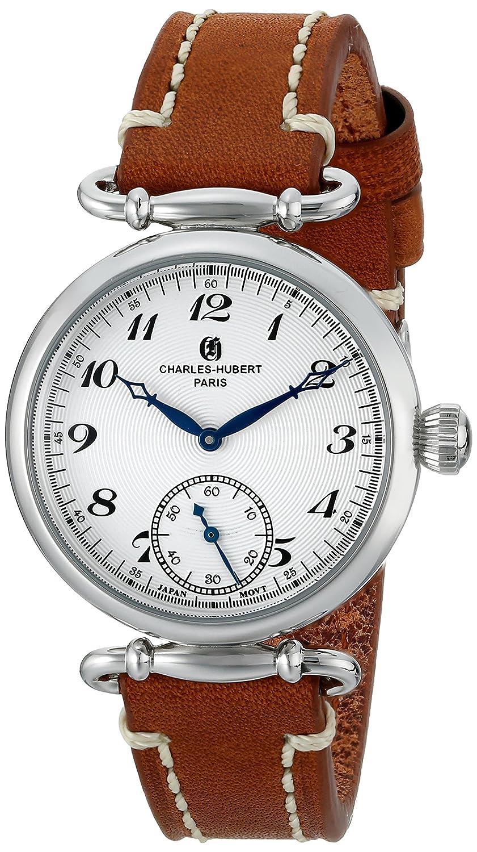 Charles-Hubert - Paris Damen-Armbanduhr 34mm Armband Kalbsleder Braun GehÄuse Edelstahl Quarz Analog 6957-W