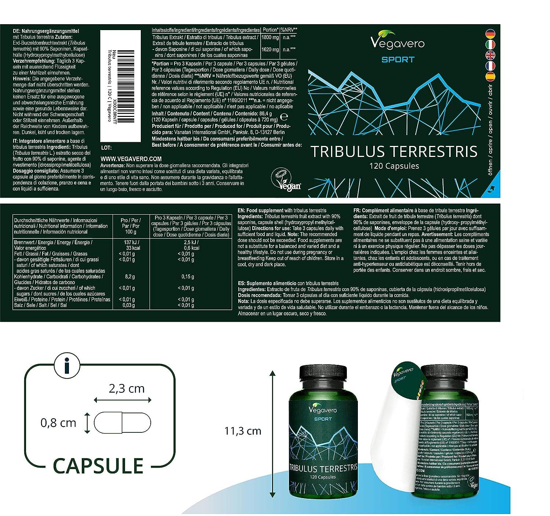 Tribulus Terrestris Vegavero SPORT®   90% SAPONINAS   LA DOSIS MÁS ALTA: 1800 mg   Testado en Laboratorio   120 Cápsulas   Aumento Masa Muscular + ...