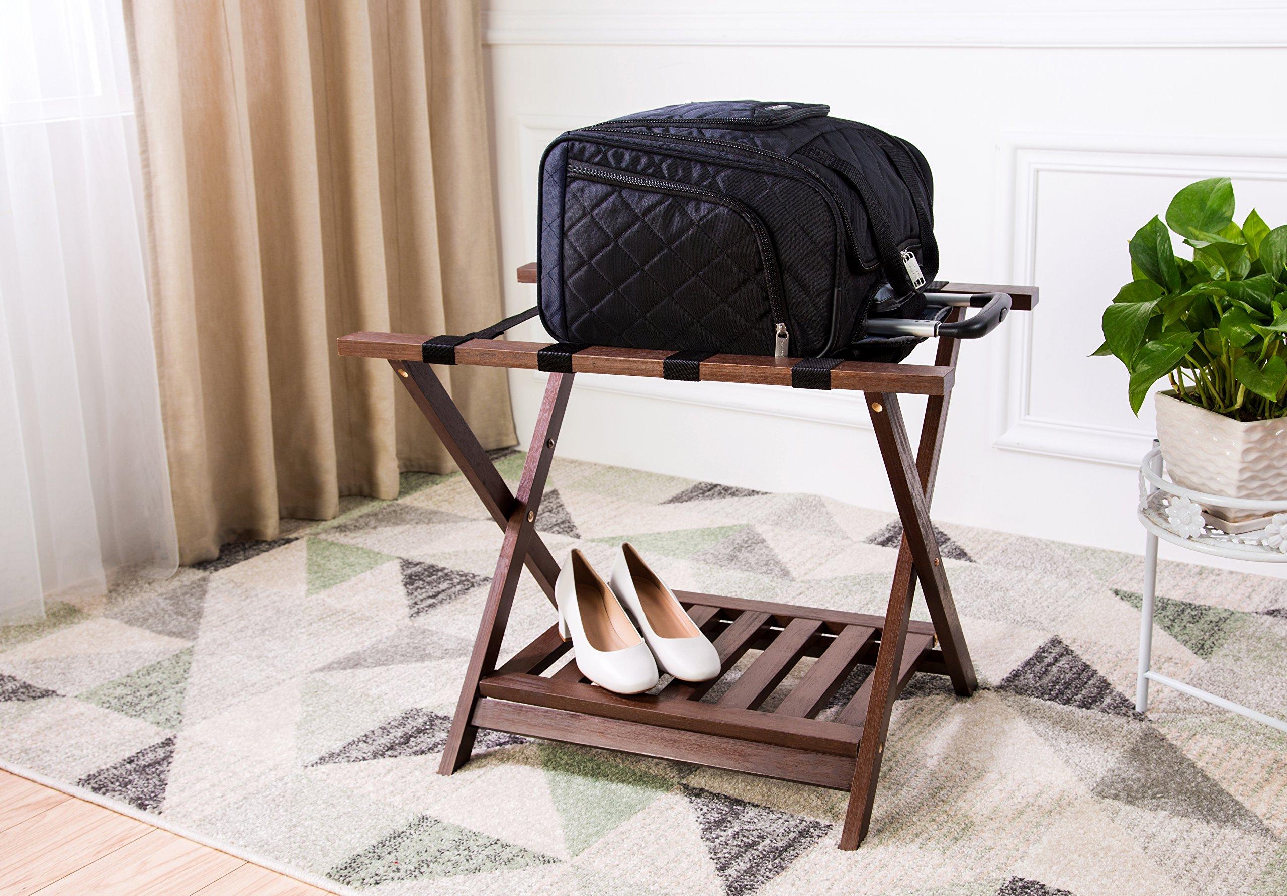 AmazonBasics Luggage Rack with Shelf - Espresso by AmazonBasics (Image #5)