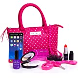 PixieCrush Pretend Play Kid Purse Set for Girls with Handbag, Pretend Smart Phone, Keys With Remote, Pretend Makeup, Lipstick – Interactive & Educational Toy (Pink Polka Dot/Standard)