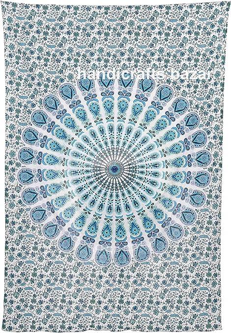 Handicraft Bazar Tapiz Mandala Ombre Original de algodón Indio para Colgar en la Pared, diseño de Elefante Bohemio y Pavo Real, Tapiz Blanco Decorativo, Tapiz de Ventana Bohemio Hippy Queen: Amazon.es: Hogar