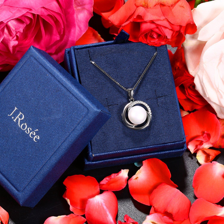 pendentif id/éal Collier 5A zircon cubique J.Ros/ée argent 925 Bijoux Femme//Fille Perle deau douce cha/îne /él/égante 45+5mm avec paquet