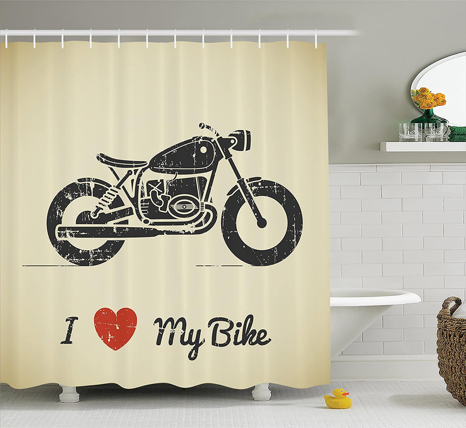 Ambesonne Manly Decor Shower Curtain Set, Vintage Grunge Flat Looking Motorcycle and I Love My Bike Text Silhouette Art, Bathroom Accessories, 69W X 70L Inches