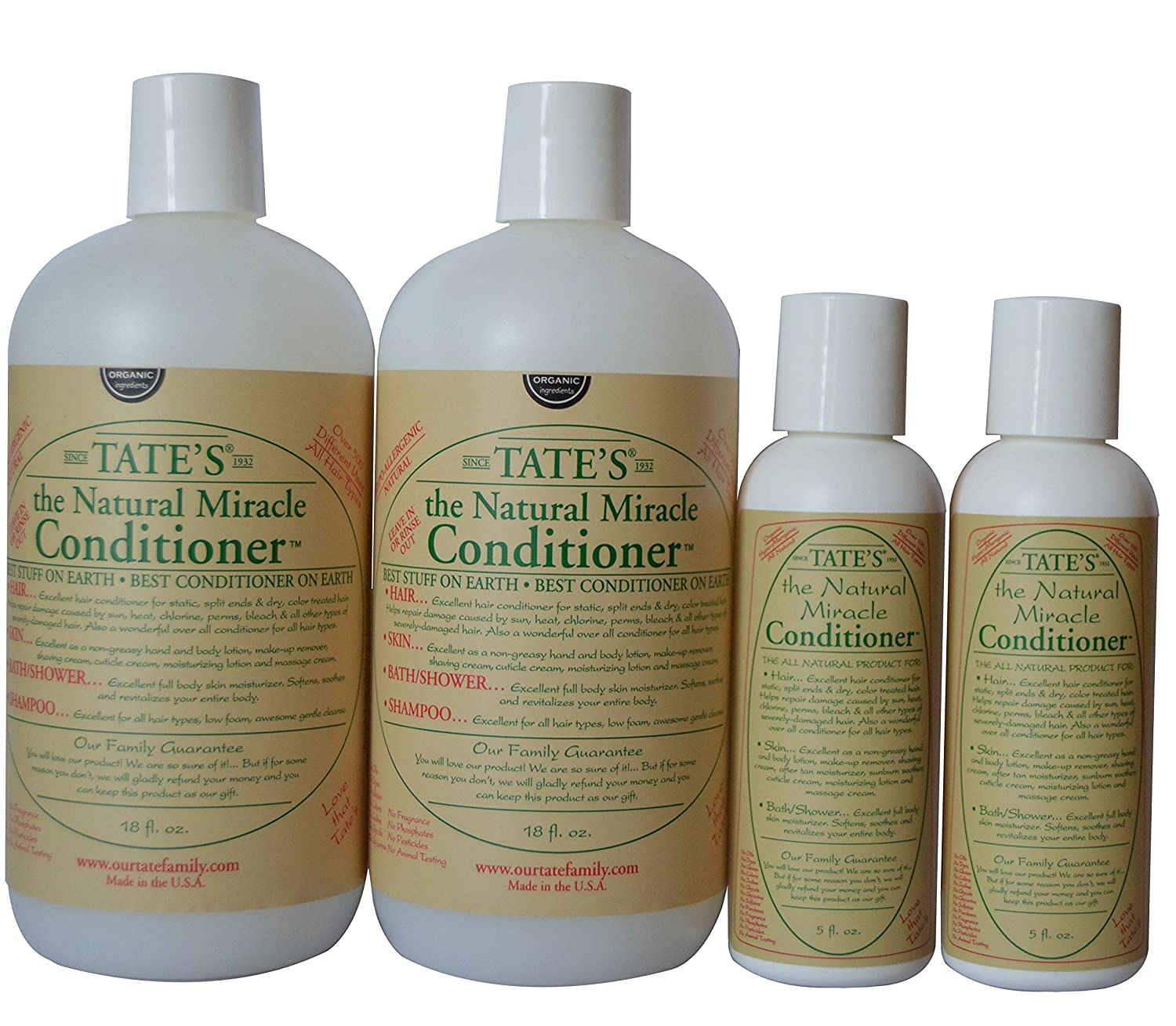 2 Tate's Natural Miracle Conditioners - 18 fl oz with 2 FREE 5 fl oz Mini Conditioner!