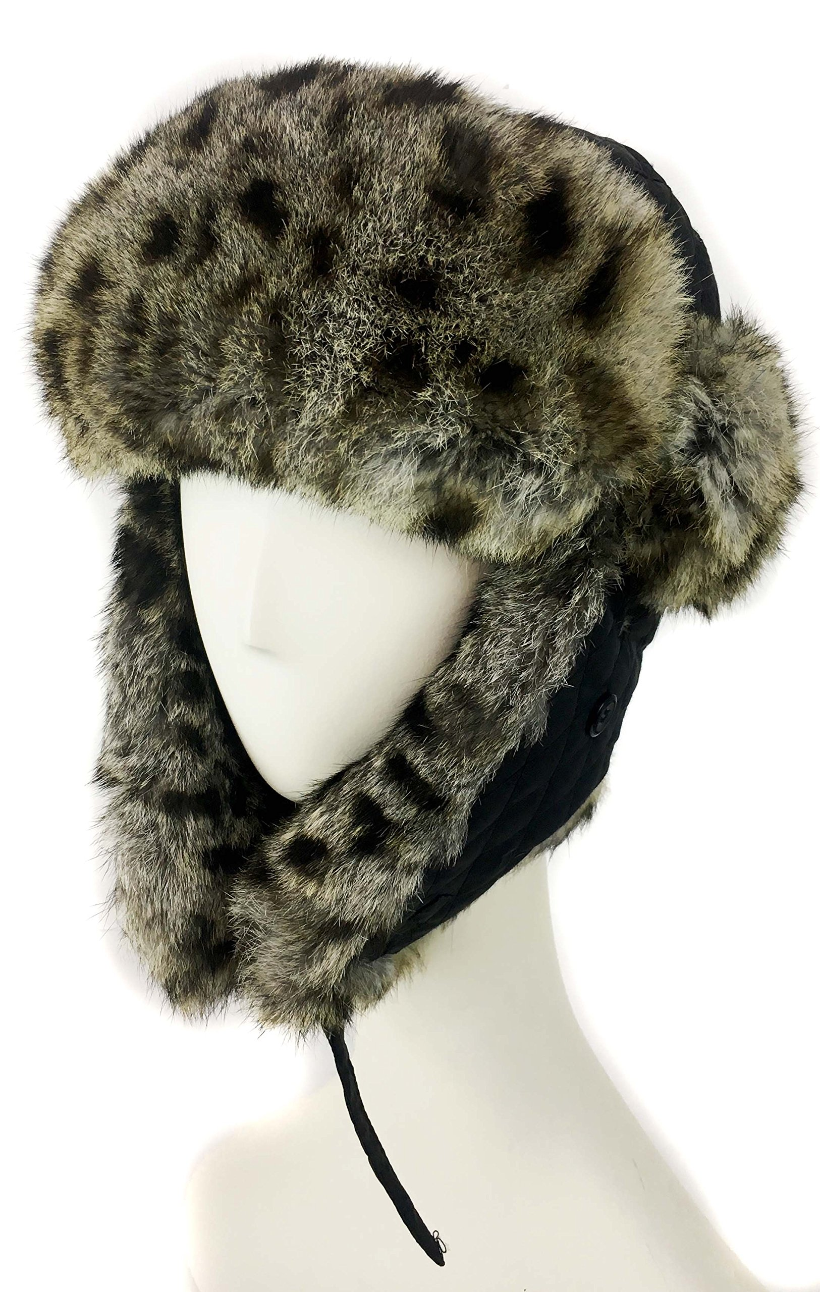 surell Trapper Aviator Hat with Rabbit Fur Trim - Warm Bomber Trooper Hat - Perfect Winter Luxury Gift (Leopard)