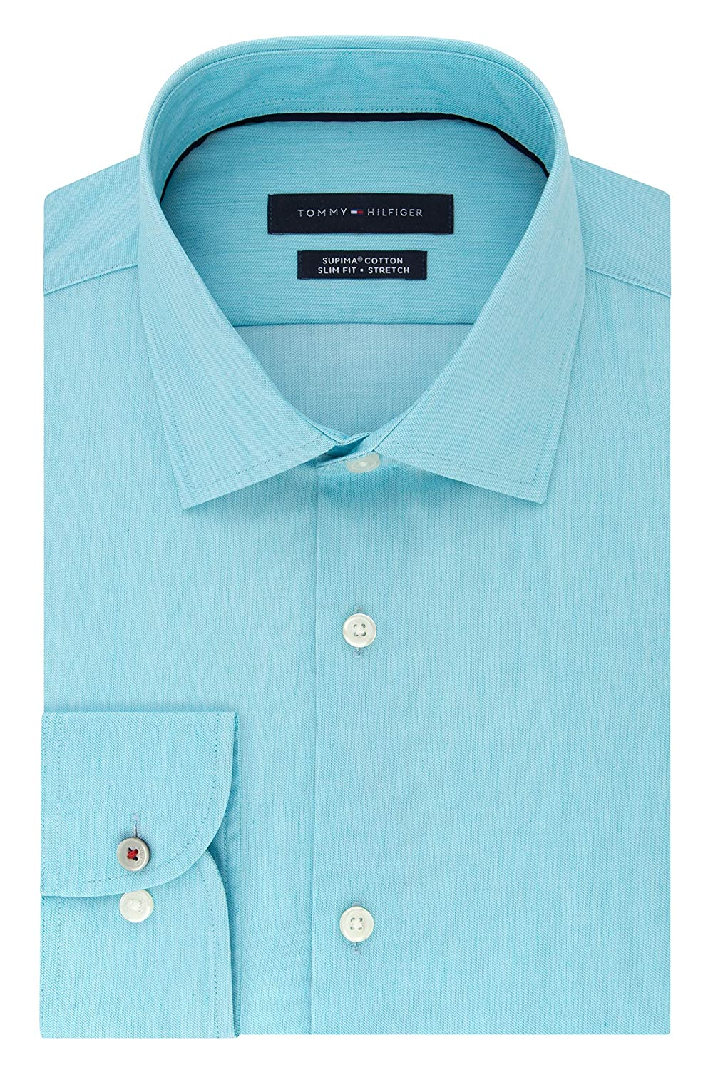 448c26543 Tommy Hilfiger Men's Dress Shirt Stretch Slim Fit Solid at Amazon Men's  Clothing store:
