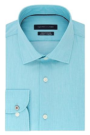 "ad6aafba364 Tommy Hilfiger Men's Dress Shirt Stretch Slim Fit Solid, Lapis, 14.5""  Neck 32"""