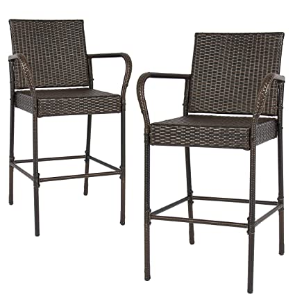 amazon com best choice products set of 2 outdoor brown wicker