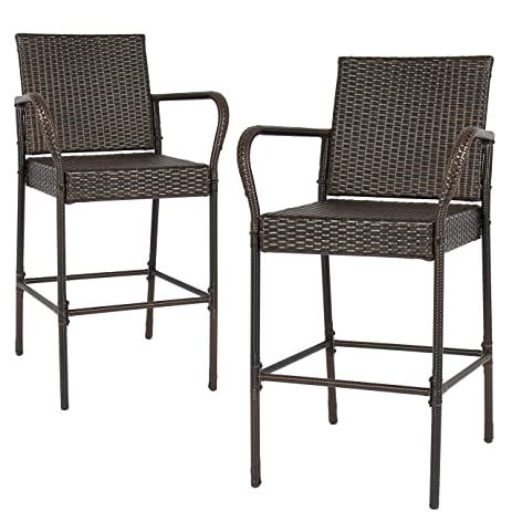 Best Choice Products Set Of 2 Outdoor Brown Wicker Barstool Outdoor Patio  Furniture Bar Stool