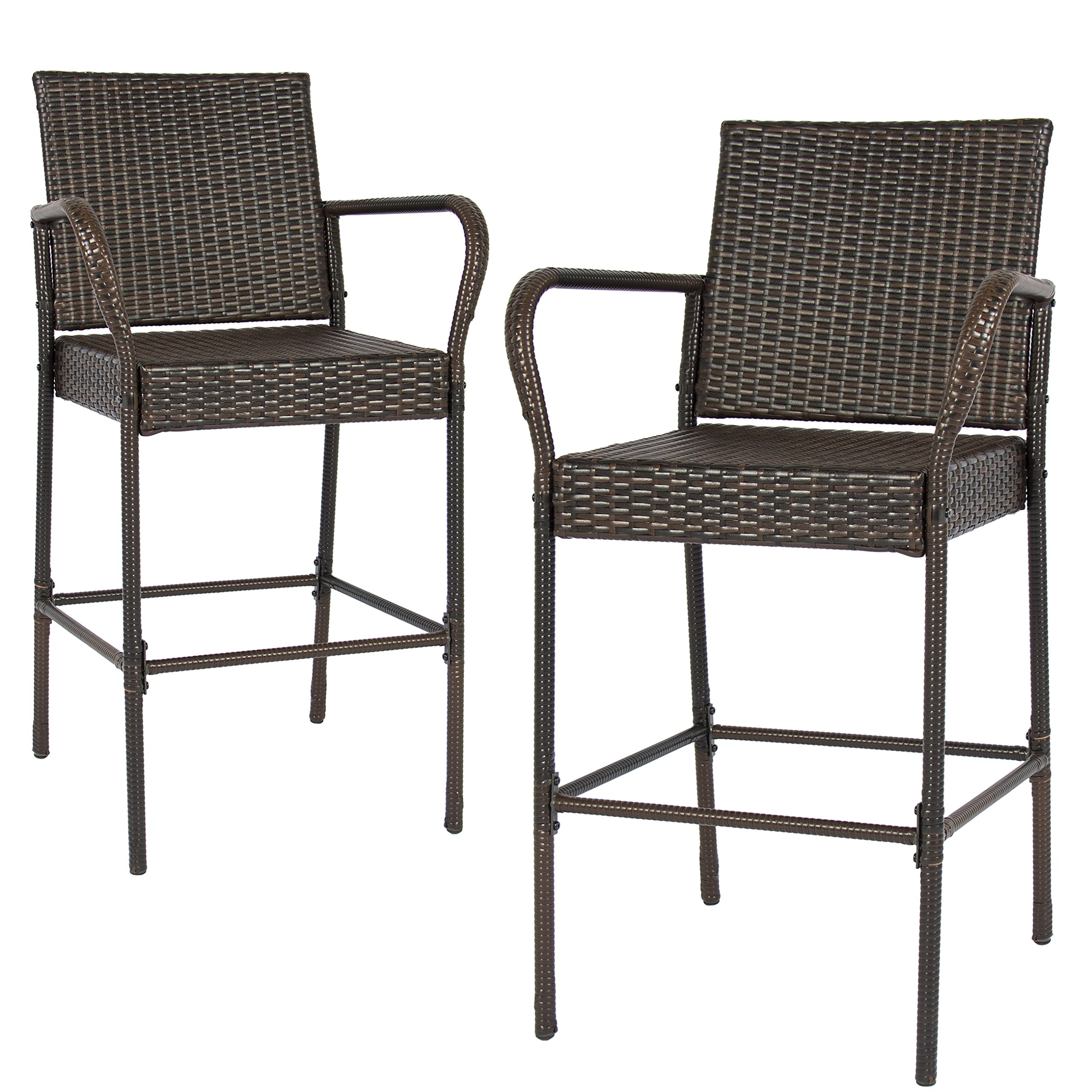 Best Choice Products Set of 2 Outdoor Brown Wicker Barstool Outdoor Patio Furniture Bar Stool by Best Choice Products (Image #2)
