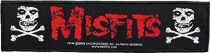 The Misfits Skull Logo Aufnäher Stripe Patch Gewebt Lizenziert Bekleidung