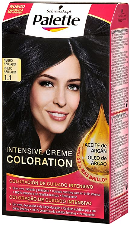 Palette Intense Color Cream Coloración Semipermanente, Tono 1.1 Negro Azulado - 115 ml