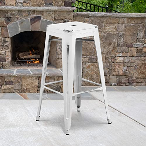 Flash Furniture Commercial Grade 4 Pack 30″ High Backless Distressed White Metal Indoor-Outdoor Barstool