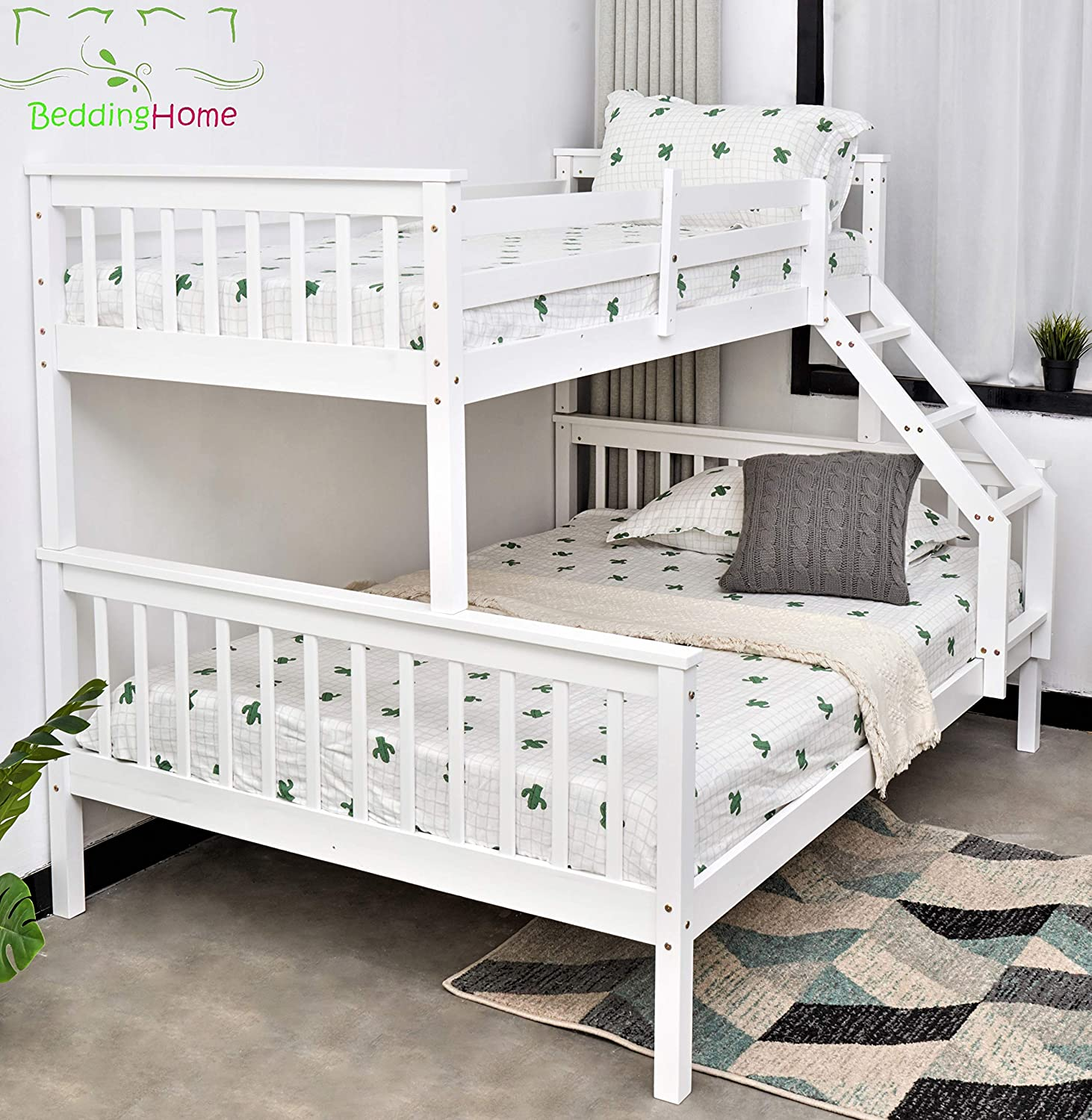 Triple Bunk Bed 3ft Single 4 6ft Double Solid Pine Wood Bunk Beds Triple Sleeper Beds For Adult And Children In Grey White White Amazon Co Uk Kitchen Home