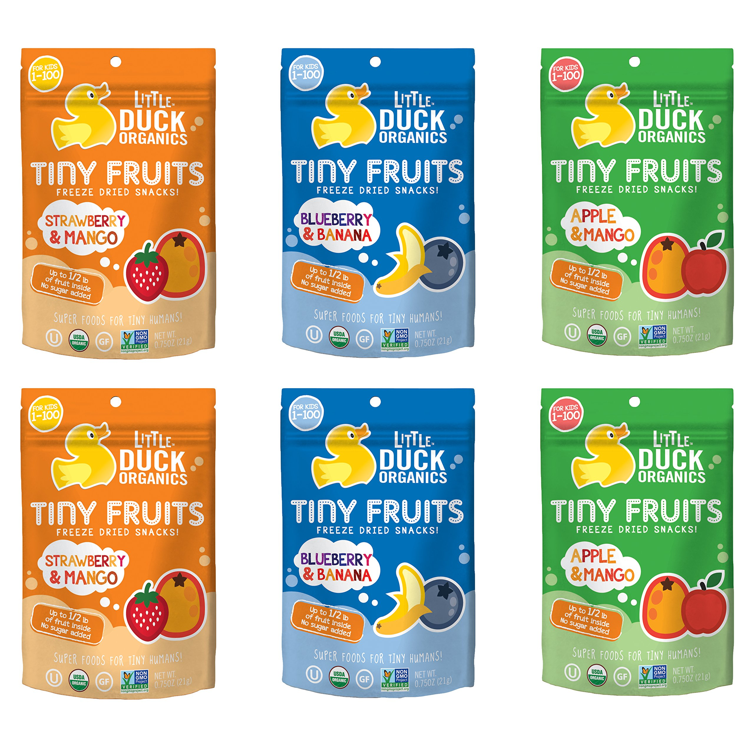 Little Duck Organics Tiny Freeze Dried Fruit Snack, Variety Pack, 6 Count by Little Duck Organics (Image #1)