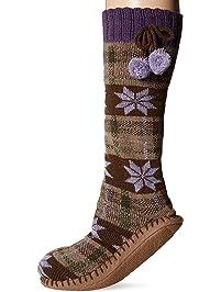 MUK LUKS womens Women's Slipper Socks With Poms Slipper Sock