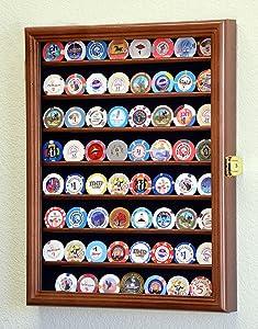 64 Casino Chip Coin Display Case Cabinet Chips Holder Wall Rack 98% UV Lockable -Walnut