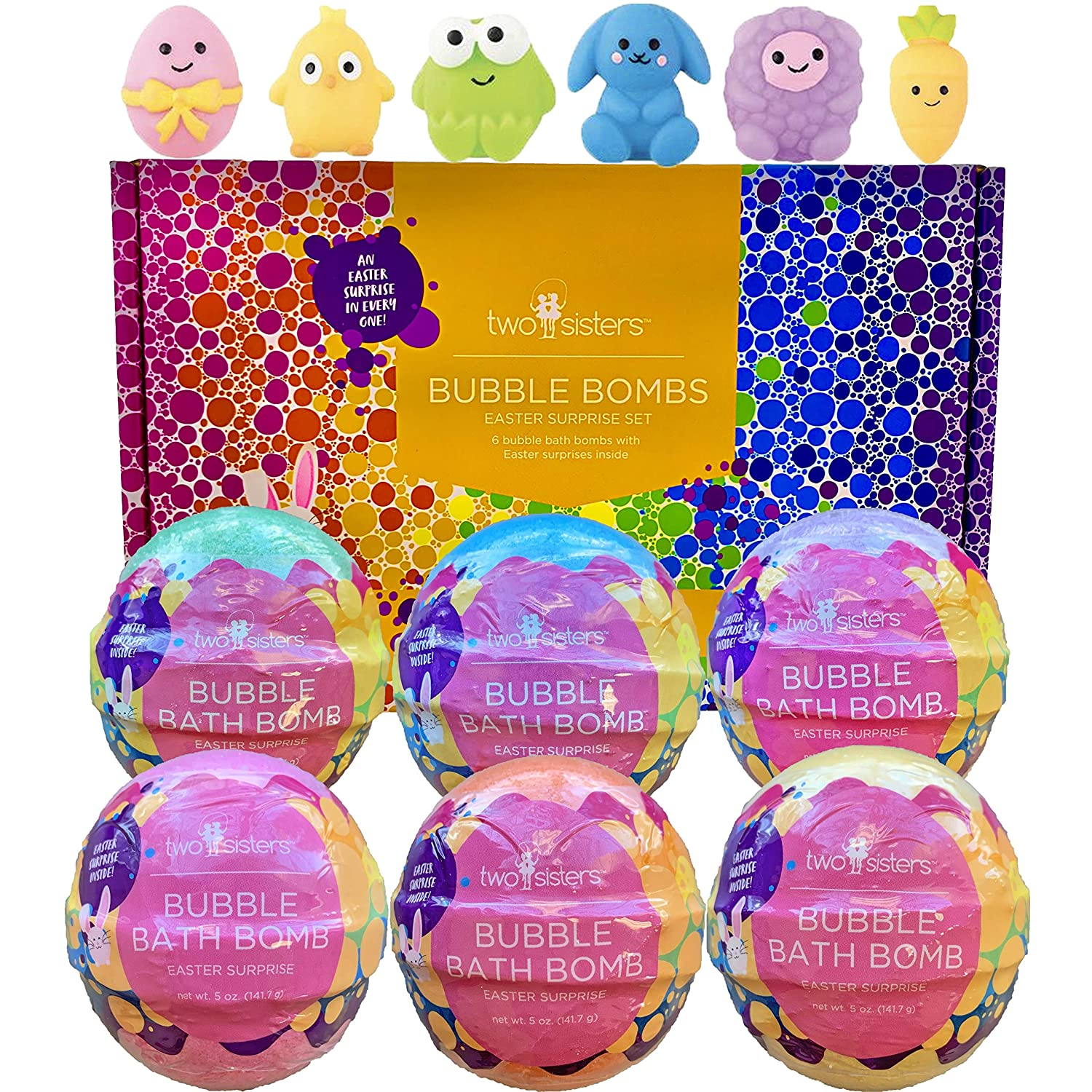 Easter Squishy Bubble Bath Bombs for Kids with Surprise Easter Squishy Toys Inside by Two Sisters. 6 Large 99% Natural Fizzies in Gift Box. Moisturizes Dry Skin. Releases Color, Scent, Bubbles